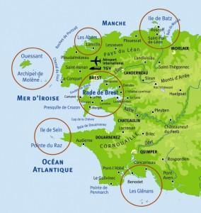 Zones de navigation de Notre-Dame de Rumengol autour du Finistère