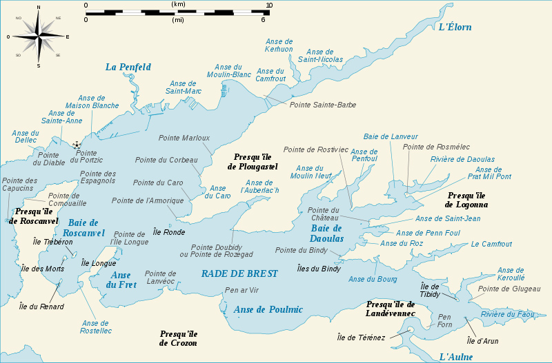 Zones de navigation de Notre-Dame de Rumengol en rade de Brest