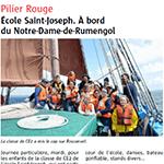 Le Télégramme juin 2014 : École Saint-Joseph à bord du Notre-Dame de Rumengol